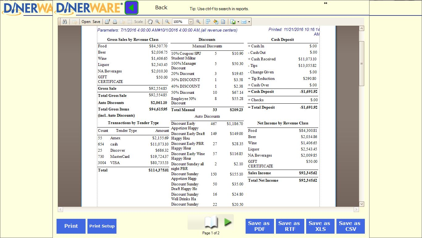 Reporting  sc 1 th 168 & Evergreen POS | Dinerware Intuitive Restaurant Software