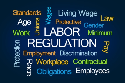 A labor regulation word cloud depicting some key labor regulation buzzwords that will be affected by Washington Initiative 1433
